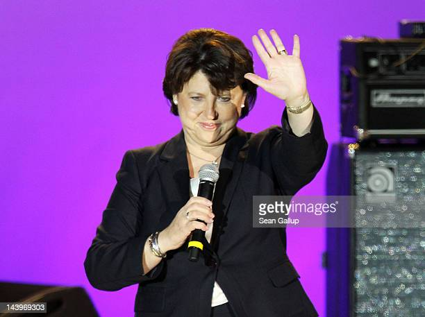 First Secretary of the French Socialist Party Martine Aubry speaks at Place de la Bastille after Francois Hollande wins the French Presidential...