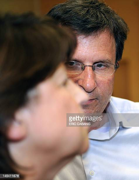 First Secretary of the French Socialist Party, Martine Aubry , speaks with Socialist Christophe Borgel , candidate in the Haute-Garonne 9th...