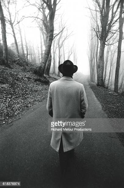 First Secretary of the Socialist Party François Mitterrand taking a walk during the 1978 legislative elections.