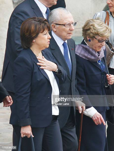 First Secretary of the Socialist Party Martine Aubry and her father politician Jacques Delors attend the ceremony paying tribute to former Socialist...