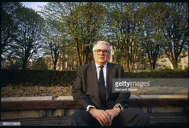 First Secretary of the Socialist Party, Pierre Mauroy, relaxes in a park in Lille in between engagements. In a typical day, after a morning work...