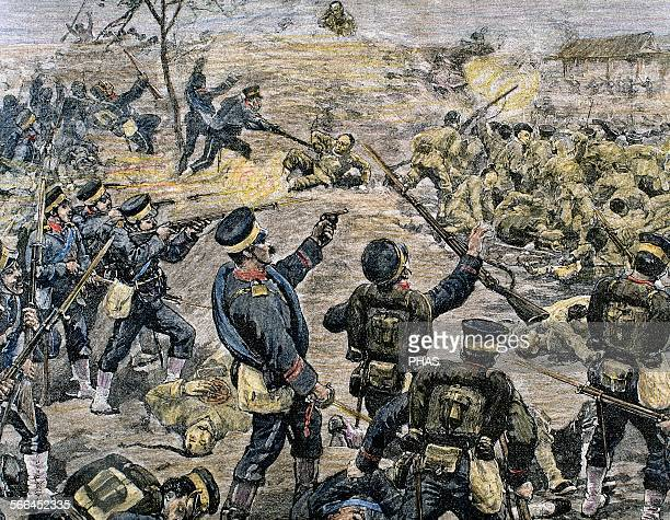 First SinoJapanese War Battle of PingYang The Japanese take a Chinese position Colored engraving