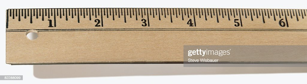 First Six inches of wooden ruler : Stockfoto