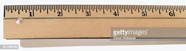 first six inches of wooden ruler - ヤードポンド法 ストックフォトと画像