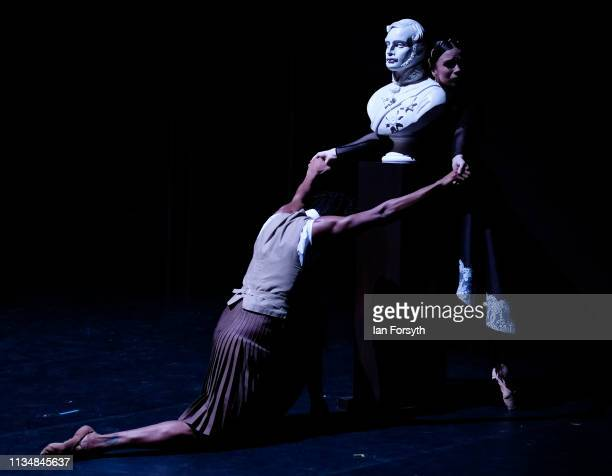 First Soloist Abigail Prudames as Victoria clings to a bust of Prince Albert as she dances during the World Premier of Northern Ballet's performance...
