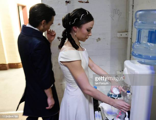 First Soloist Abigail Prudames fills her water bottle between acts at the World Premier of Northern Ballet's performance of 'Victoria' at Leeds Grand...
