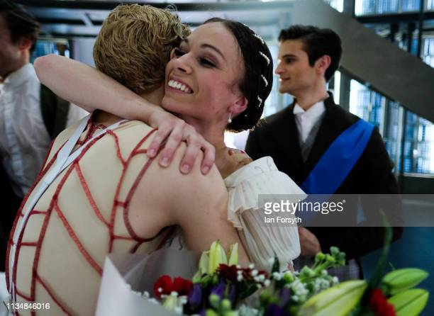 First Soloist Abigail Prudames reacts as she is presented with flowers as the curtain comes down at the end of the World Premier of Northern Ballet's...