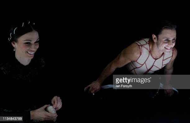First Soloist Abigail Prudames reacts with another dancer as they make final preparations before the curtain goes up at the World Premier of Northern...