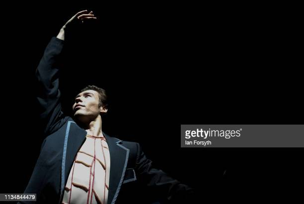 First Soloist Joseph Taylor dancing as Albert warms up before the curtain goes up for the World Premier of Northern Ballet's performance of...