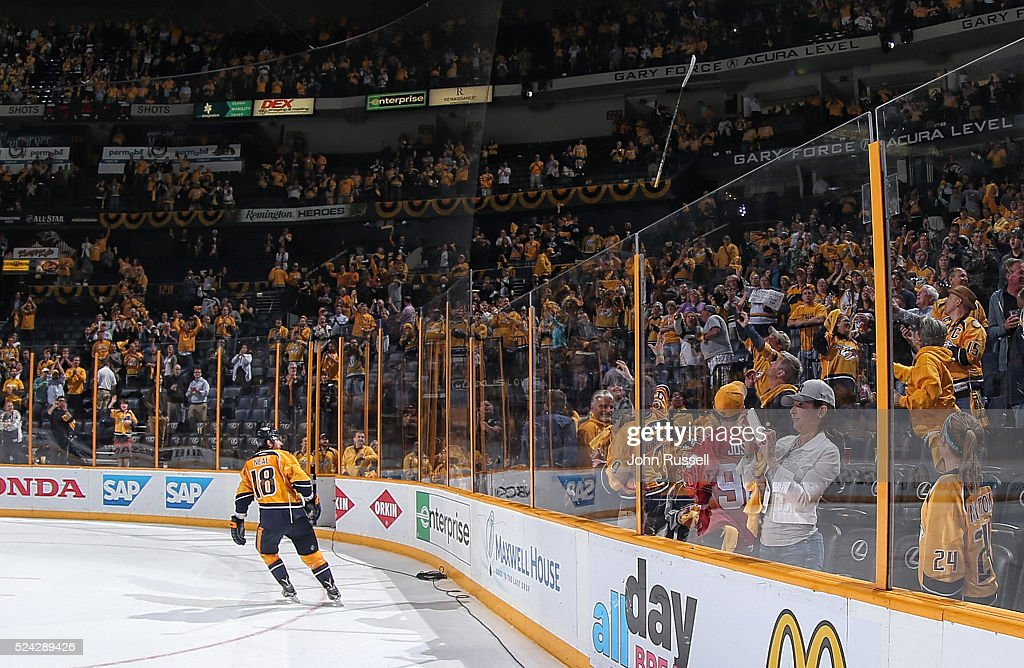 First Star of the game James Neal #18 of the Nashville Predators tosses his stick to the fans after a 3-1 win against the Anaheim Ducks in Game Six of the Western Conference First Round during the 2016 NHL Stanley Cup Playoffs at Bridgestone Arena on April 25, 2016 in Nashville, Tennessee.