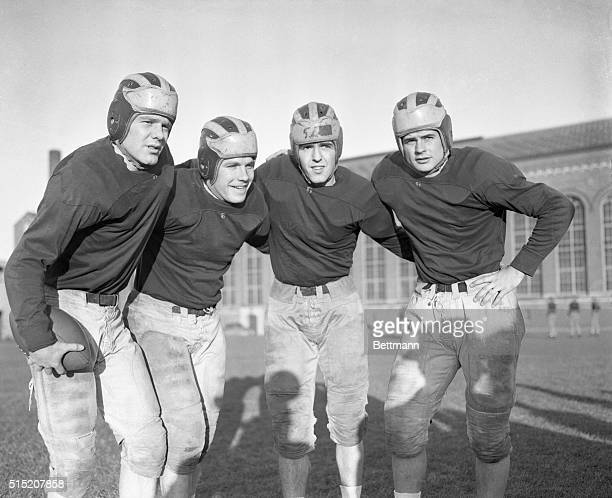 First string backfield men for the University of Michigan football team which meets University of Southern California in the Rose Bowl on New Year's...