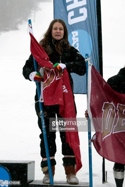 First Team All American and Silver medalist Denver's Andrea Komsic during the NCAA Women's Slalom Skiing Championship on March 10 2017 at Cannon...