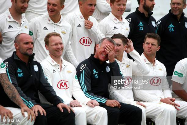First team coach Alec Stewart jokes with players during the Surrey CCC Photocall at The Kia Oval on April 4, 2017 in London, England.