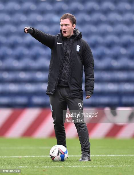 First team coach Craig Gardner of Birmingham City gestures during the Sky Bet Championship match between Preston North End and Birmingham City at...