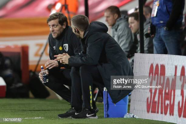 First Team Coach Gary O'Neill with Manager Jonathan Woodgate of Bournemouth during the Sky Bet Championship match between AFC Bournemouth and Swansea...