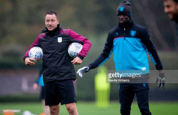 First team coach John Terry of Aston Villa in action during a training session at the club's training ground at Bodymoor Heath on October 16 2018 in...