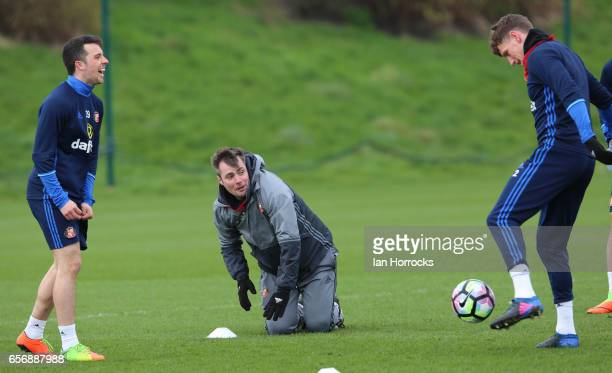 First team coach Robbie Stockdale is the butt of the joke during a Sunderland AFC training session at The Academy of Light on March 23 2017 in...