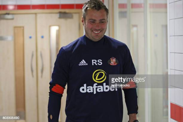 First team coach Robbie Stockdale of Sunderland AFC returns to the training ground during the first day of preseason training at The Academy of Light...