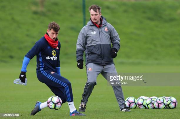 First team coach Robbie Stockdale watches Billy Jones during a Sunderland AFC training session at The Academy of Light on March 23 2017 in Sunderland...