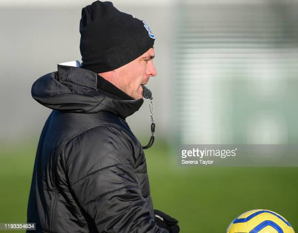First team coach Steve Harper blows the whistle during the Newcastle United Training Session at the Newcastle United Training Centre on December 11...