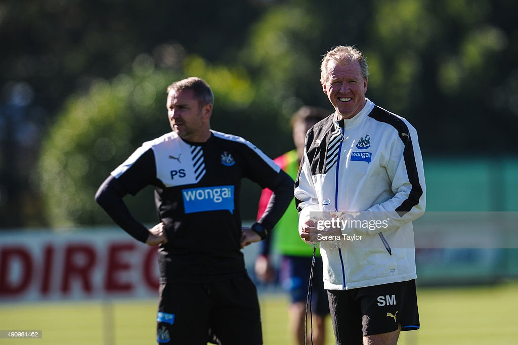 First team coach Steve McClaren smiles on the pitch during the Newcastle United Training session at The Newcastle United Training Centre on October 2, 2015, in Newcastle upon Tyne, England.