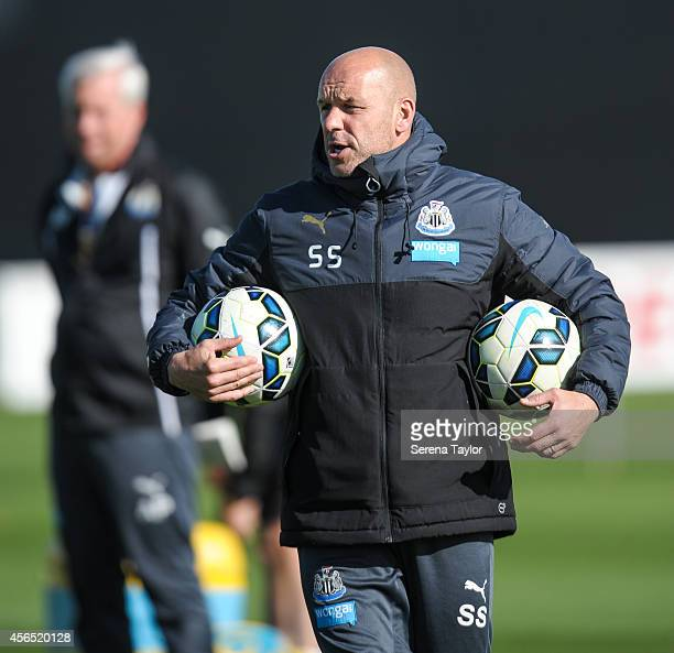First Team Coach Steve Stone looks on during a training session at The Newcastle United Training Centre on October 2 in Newcastle upon Tyne, England.