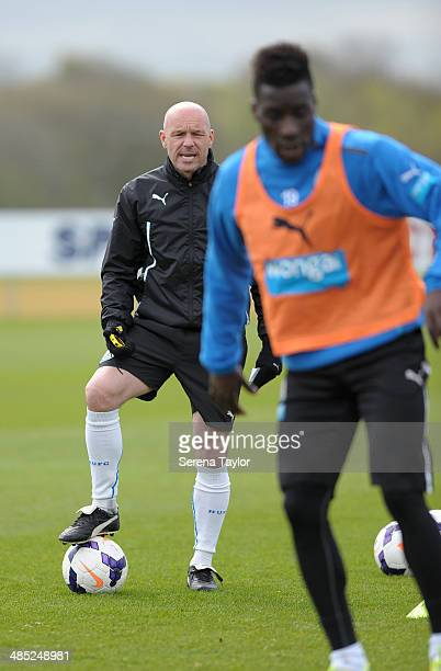 First Team Coach Steve Stone shouts instructions during a training session at The Newcastle United Training Centre on April 17 in Newcastle upon...