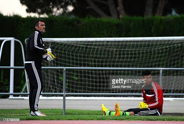 First team goalkeeper coach Antonio Jimez of Southampton works out with Paulo Gazzaniga of Southampton before a friendly match between Southampton FC...