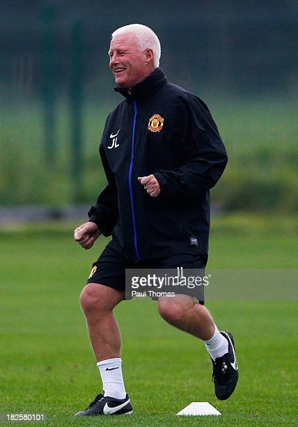 First team Jimmy Lumsden of Manchester United smiles during a training session ahead of their Champions League Group A match against Shakhtar Donetsk...