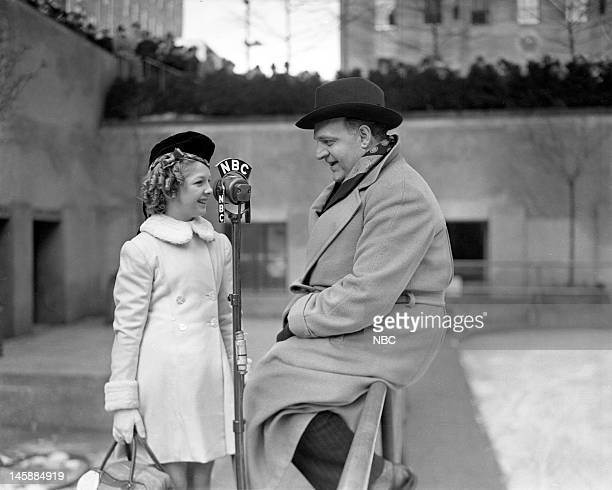 NBC HISTORICAL First Televised Ice Show Pictured Professional child figure skater Hazel Franklin NBC's Warren Wade at Rockefeller Plaza during the...