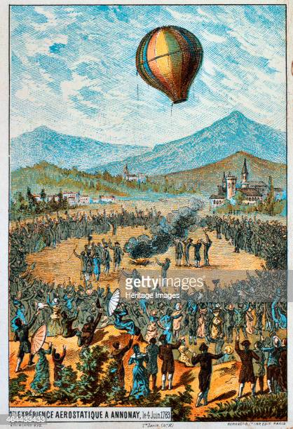 First test flight of a hot air balloon at Annonay France 4 June 1783 Enthusiastic crowds watching the first unmanned test flight by brothers Joseph...