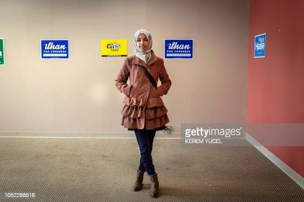 First time Democratic congressional candidate Ilhan Omar poses in Minneapolis Minnesota on October 13 2018 SomaliAmerican local state legislator...