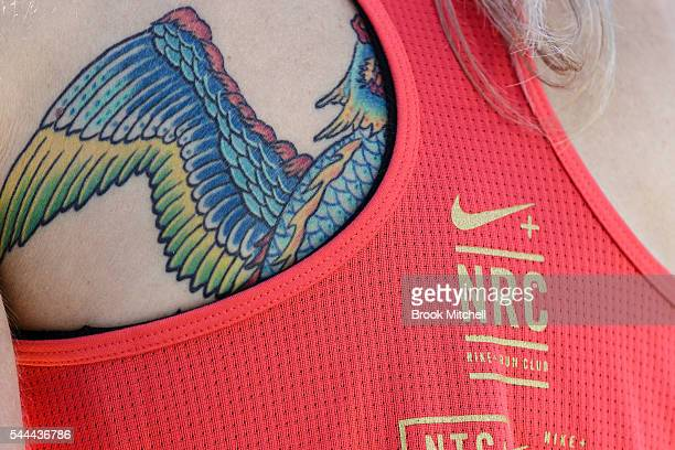 First time Olympian Milly Clark's back Tattoo at the Nike Women's Half Marathon at Sydney Olympic Park on July 3 2016 in Sydney Australia