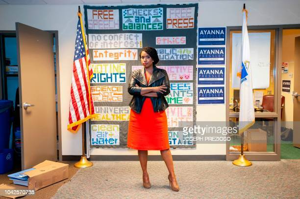 First time US Congressional candidate Ayanna Pressley poses at the headquarters of the Massachusetts Democratic Party coordinated campaign in...