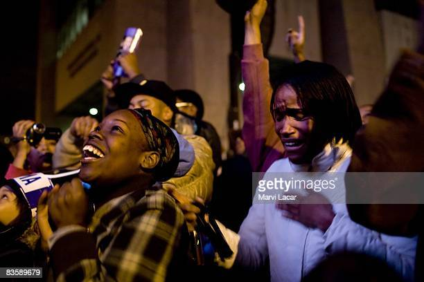 First time voter Phitayaa McDonald, 19 cries upon hearing of Barack Obama's victory on November 4, 2008 in New York City. In the historically...