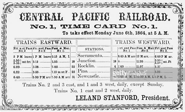 First Timetable Here is the first official timetable published by the pioneer Central Pacific parent of the present Southern Pacific It announced...