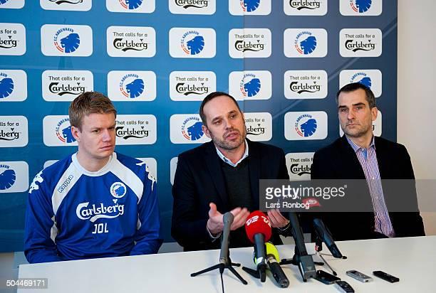FCK first training Left Assistenttræner / Assistantcoach Johan Lange FCK FC København new teamcoach in FCK Carsten V Jensen right CEO Anders Hørsholt...