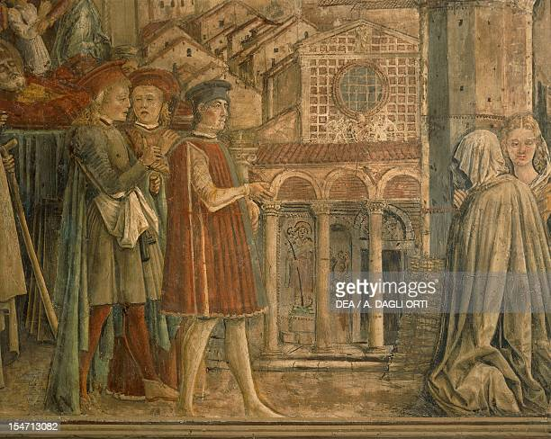 First transfer of the body of Sant'Ercolano from his first place of rest in the Church of St Peter 14611480 by Benedetto Bonfigli fresco Priors...