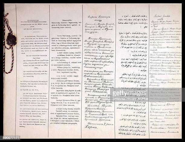 First two pages of BrestLitovsk Peace Treaty between Soviet Russia and Germany AustriaHungary Bulgaria and Turkey ending their participation in World...