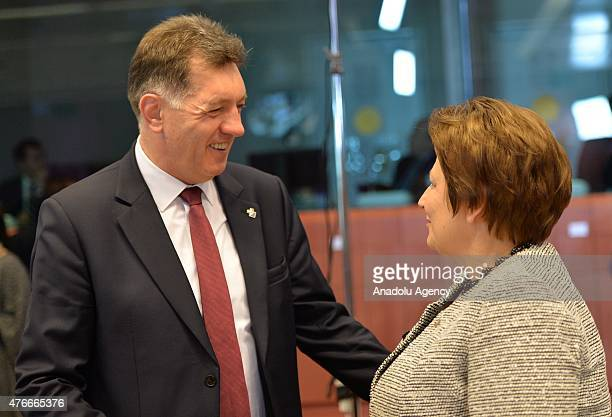 First Vice President of Cuba Miguel DíazCanel and Prime Minister of Latvia Laimdota Straujuma speak during the second day of EUCELAC summit in...