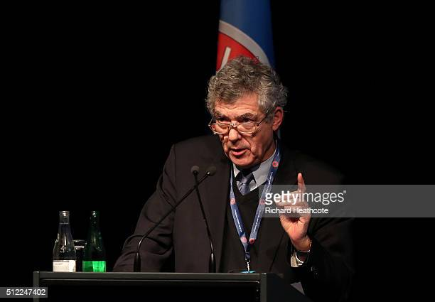 First VicePresident Angel Maria Villar Llona addresses the UEFA XI Extraordinary Congress at the Swissotel on February 25 2016 in Zurich Switzerland...