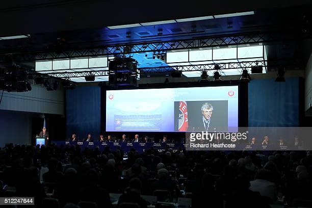 First VicePresident Angel Maria Villar Llona addresses the UEFA XI Extraordinary Congress at the Swissotel on February 25 2016 in Zurich Switzerland...