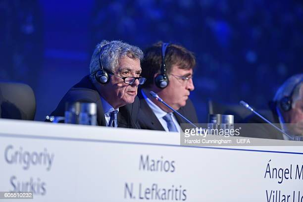 First VicePresident Angel Maria Villar Llona during the 12th Extraordinary UEFA Congress at the Grand Resort Lagonissi Hotel on September 14 2016 in...