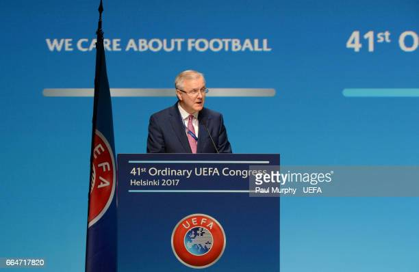 First VicePresident Ángel María Villar Llona during the 41st Ordinary UEFA Congress on April 5 2017 in Helsinki Finland