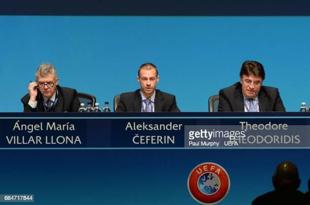UEFA First VicePresident Ángel María Villar Llona UEFA President Aleksander Ceferin and UEFA General Secretary Theodore Theodoridis during the 41st...
