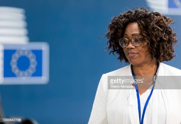 First VicePresident of Costa Rica Epsy Campbell Barr is leaving of an EUCELAC Foreign Ministers meeting at the European Council on 17 July 2018 in...