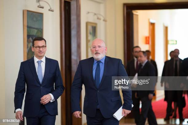 First VicePresident of European Commission Frans Timmermans and Polish Prime Minister Mateusz Morawiecki during a meeting at Chancellery of the Prime...