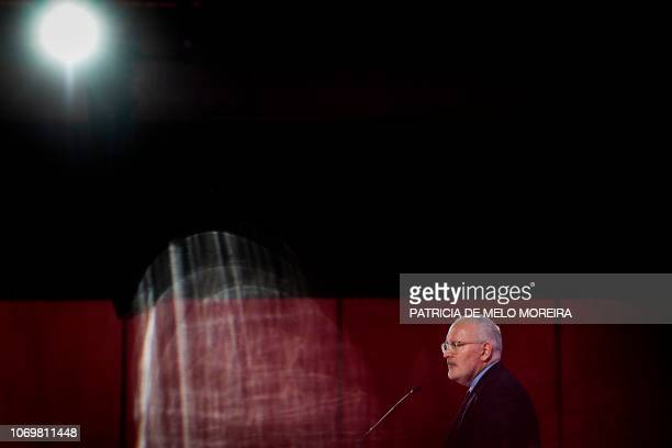 First Vice-President of European Commission Frans Timmermans delivers a speech during the XI Party of European Socialists Congress at the University...