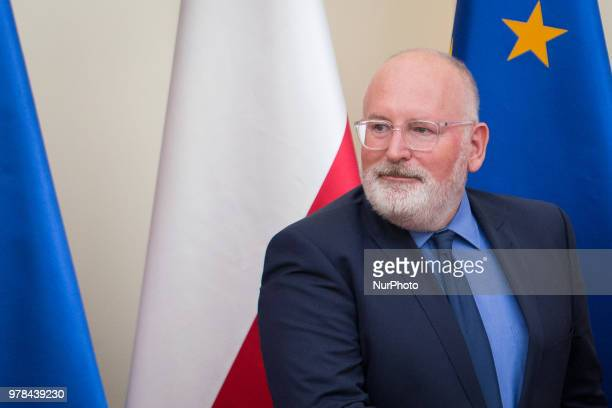 First VicePresident of European Commission Frans Timmermans during a meeting with Polish Prime Minister Mateusz Morawiecki at Chancellery of the...