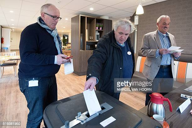First VicePresident of the European Commission Frans Timmermans casts his vote in the Dutch referendum on the association agreement between the EU...